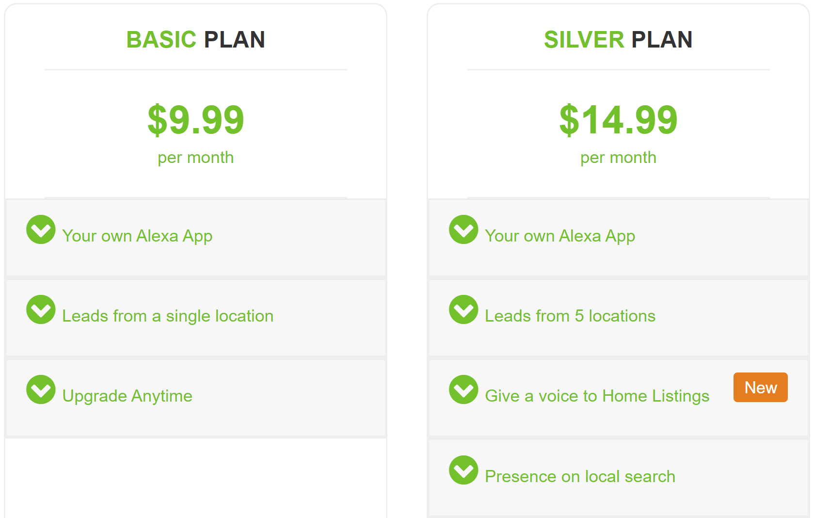 Two simple pricing plans